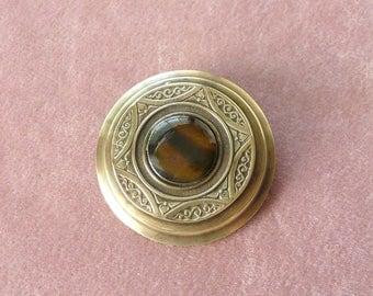 Art Deco Tiger Eye Pin Brass Cats Eye Retro Vintage