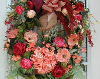 Summer Wreath Large Sprays Hydrangea Poppies Roses Peach Raspberry Color Spring Front Door Silk Floral Hanging Decoration Natural Grapevine