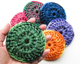 Heavy Duty Dish Scrubbies - Choose Your Color - Set of 2 through 8 - Crochet Nylon Pot Scrubber - Tawashi