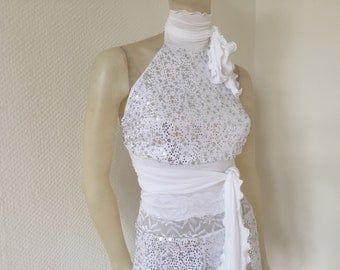 Wrap Halter Top white with silver Sequinns Tango Halter Cowl Neck Top fits  US 4 and 6 EU 34/36  Dancewear Evening Top