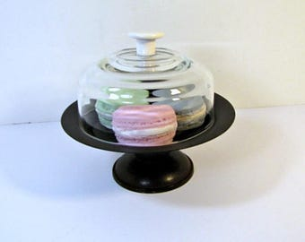 Vintage PEDESTAL Stand & Glass Dome Cloche Covered Display Pastry Cupcake Appetizer