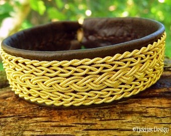 Genuine Sami Bracelet Cuff SKADI with 14K Gold filled Braids on Antique Brown Leather.