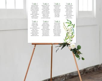 Seating Chart on Foam Core - Greenery, Foliage, Leafy (Style 0030)