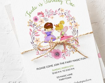 Birthday Party Invitations - Magical Fairy Party/Garden Fairy/Girl's Birthday (Style 13618)