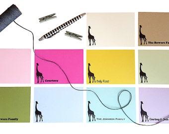 Personalized Giraffe Note Cards - Giraffe Stationery - Personalized Giraffe Stationery - Custom Giraffe Stationery - 12 piece set
