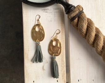 Gold Splash and Leather Fringe Earrings