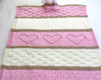 Baby Blanket Pattern, Knit Baby Blanket Pattern, Heart Baby Blanket Pattern, Crib Blanket - Knitting Pattern by Deborah O'Leary
