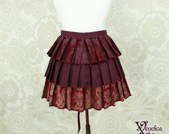 "Steampunk Ruffle Bustle Overskirt - Aubergine, Burgundy, & Gold - 3 Layer, Sz. M - Fits up to 55"" Waist/Upper Hip -- Ready to Ship"