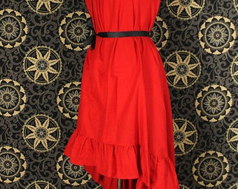 "Steampunk Cap Sleeved Ragamuffin Dress in Bright Red Cotton -- Size S, Fits Bust 33""-36"" -- Ready to Ship"