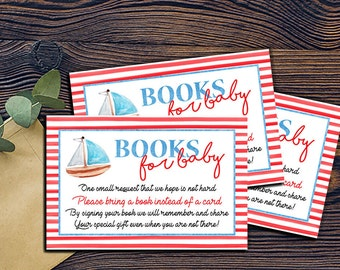 Nautical Book Request - Baby Shower -DIGITAL INVITATION-Printable Invite Card - Ahoy Ocean Sailboat Book Card Shower Game