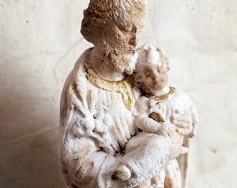 Ancienne Statuette religieuse. Français dévotion Statue de Saint-Joseph et l'enfant. Petite Statue ecclésiastique. Pieraccini signé. Estampillé deposé P * P