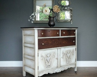 Vintage Painted Refinished Ornate Oak Buffet Cabinet, Sideboard Furniture  In Layered Linen With Dark Stained