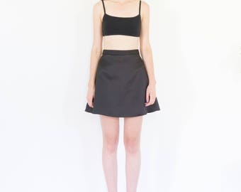 90s Black Satin A-Line Mini Skirt / Size XS-Small