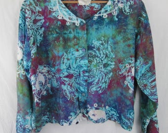 Vintage 1970s Dyed Ying Yang Long Sleeve Blouse  Medium/Large