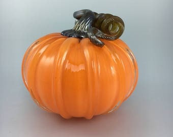"5"" Glass Pumpkin by Jonathan Winfisky - Opaque Bright Orange - Hand Blown Glass"