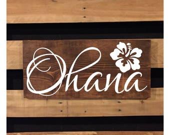 Ohana Sign   Wood Sign   Beach Sign   Rustic Sign   Beach Decor   Family   Hawaiian Decor   Hibiscus Flower   Beach House Decor   22440