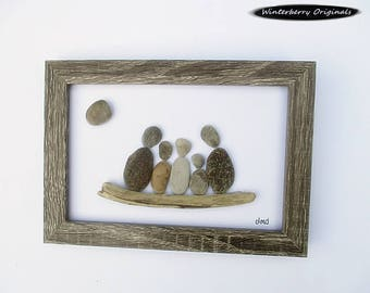 "Pebble Art: Family of 5 - 5"" x 7"" Rustic Frame -- modern art, minimalist art, original wall art, small space wall art, family gift"