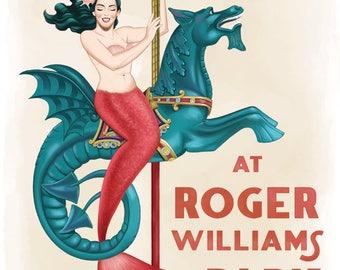 Art Print, Carousel Illustration Print, Mermaid Art, Children's Room Decor, Fantasy Art