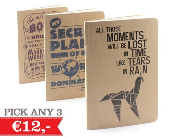 New designs! 3 Small Notebooks, Choose any 3 (mix and match)