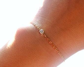 Twinkling Gold Bracelet, Delicate Gold Bracelet, Crystal Bracelet, Gold Charm Bracelet, Gold Solitaire Bracelet, 14k Gold Filled Bracelet