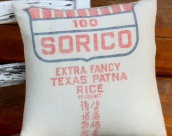 Pillow Cover, Throw Pillow, Sorico Rice Sack, Repurposed, Home Decor, Accent Pillow, Texas