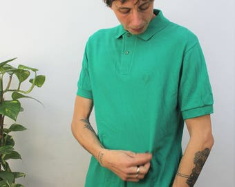 1980s Fred Perry Bright Green Polo Shirt Size Medium