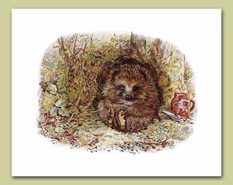 "Woodland Nursery Decor, Hedgehog Art (Beatrix Potter, Baby Wall Print) ""Mr. Pricklepin"" -- Peter Rabbit's Friends"