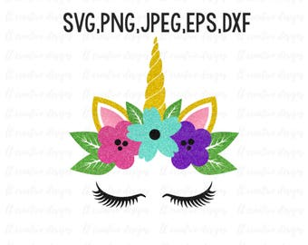 Unicorn SVG, Unicorn Head SVG, Unicorn Clipart, Unicorn Eyelashes SVG, Unicorn Face Svg, Svg Files, Cricut, Silhouette Cut Files
