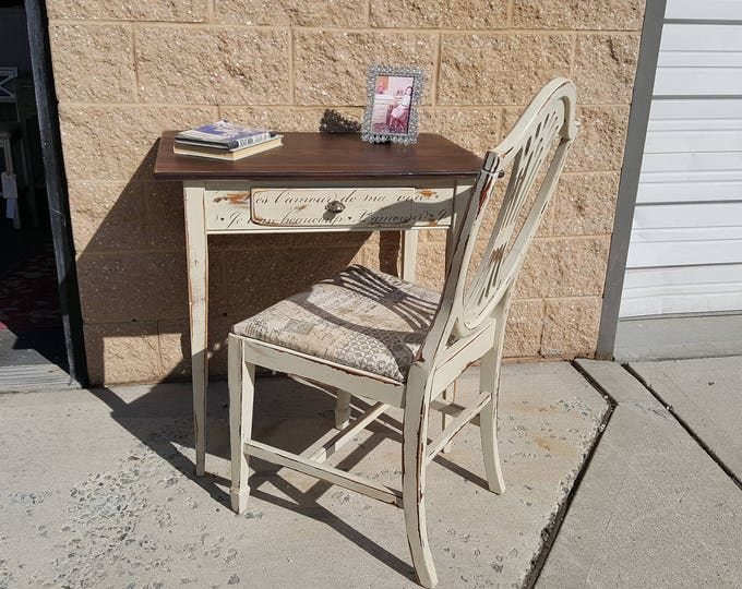 Vintage Farmhouse Shabby rustic chic desk set, PICK UP ONLY country bedroom, writing desk, farmhouse, french country, cottage vanity