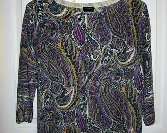 Vintage Ladies Purple, Green & White Paisley Merino Wool Sweater by Talbots Large Only 10 USD