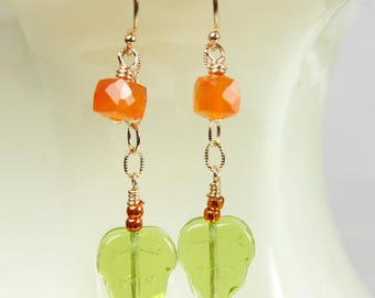 Fall Gemstone Earrings 14kt Rose Gold Filled Orange Carnelian Green Leaf Glass Dangle Elegant Delicate Beaded Stylish Unique Artisan Jewelry