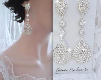 Crystal rhinestone earrings, Luminous, Large, Long, SPARKLY, Teardrop earrings, Rhinestone statement earrings, Gatsby wedding earrings
