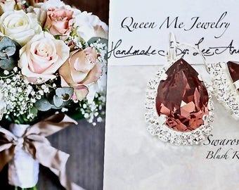 Blush rose crystal earrings, Swarovski crystal earrings, Halo crystal earrings, Brides earrings, Bridesmaids earrings, Blush wedding, SOPHIA