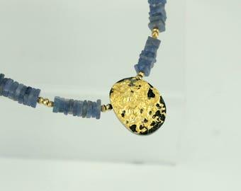"Gold and Tanzanite Necklace, Cool Tempo Necklace, 23-Karat Gold Leaf on Tektite Stone, Tanzanite, Pyrite, Toggle Clasp, 17"""