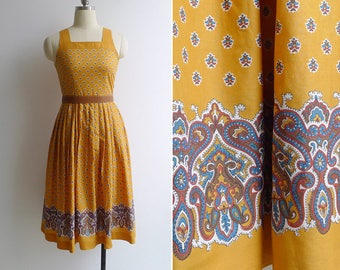 15% SALE (Code In Shop) - Vintage 80's Saffron Yellow Indian Paisley Print Dress XS or S
