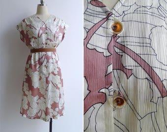 10-25% OFF Code In Shop - Vintage 80's 'Blush Florals' Abstract Print Blouson V-Neck Dress M or L