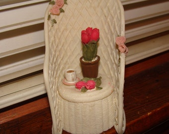 Wicker Garden Chair in Resin, Delightful Accent Piece, Keepsake Box
