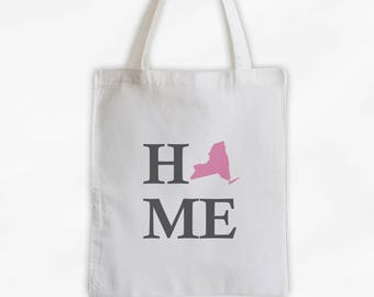Home State Canvas Tote Bag - Welcome Home to New York Bag in Pink and Gray Reusable Tote - Choose Any State (3024)