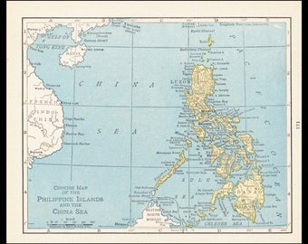 Etsy your place to buy and sell all things handmade small philippines map of philippines art antique wall decor print old atlas wall art publicscrutiny Images
