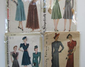 1940s Vintage Simplicity Dress Patterns - Group 1