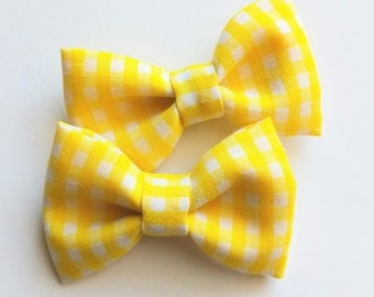 Bright Yellow and white gingham checks -2 mini hair clips- perfect buffalo fabric pigtail bows for baby toddlers