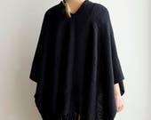 Wool Poncho Cape, Man / Woman woven tunic coat with fringes, Plus Size kimono poncho, black wrap plus size by Texturable