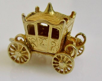 9ct Gold Coronation Coach Charm or Pendant Opens