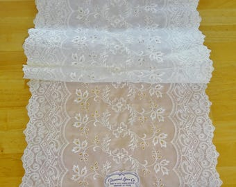 Vintage Table Runner White Embroidery Unused Cutwork Scalloped Edge Diamond Linen Co. Vanity Scarf