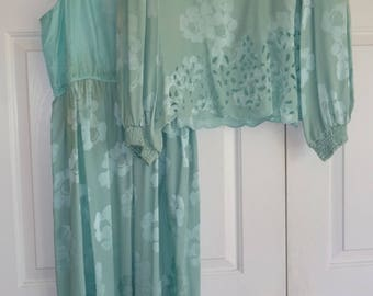 Vintage Dress Aqua Silk Size 14 Mother of Bride Formal 2 Piece Dress UMI Collections by Anne Crimmins