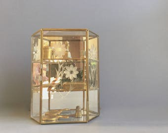 brass and glass curio cabinet etched flowers