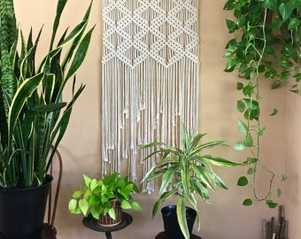 "Large Macrame Wall Hanging - Natural White Cotton Rope 30"" Wooden Dowel - Art Deco Pattern - Boho Home, Nursery Decor - Ready To Ship"