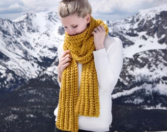 Mustard Knit Scarf Womens Long Fashion Scarf / Mustard Knit Blanket Scarf Chunky Yellow / Crochet Scarf Womens Fall Fashion/ Gift For Her
