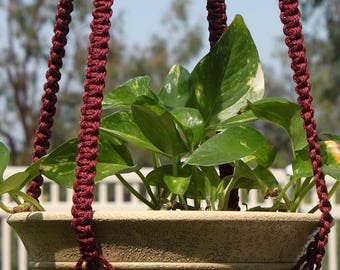 CLASSIC Dark Red Handmade Macrame Plant Hanger Plant Holder with Wood Beads - 4mm Braided Poly Cord in PLUM
