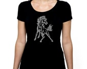 Mustang Horse RHINESTONE t-shirt tank top  S M L XL 2XL - Riding Show Cowgirl Western Stallion Bling